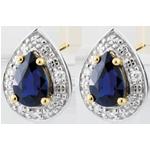 Orecchini - Lacrime di Fata - Oro bianco - 9 carati - 6 Diamanti - 2 Zaffiri