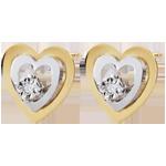 Bi-colour Gold Boudoir Heart Earrings