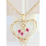 Ciondolo Cuore - Oro giallo - 9 carati - Diamante - 3 Rubini