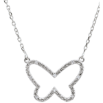 mariages Collier Balade Imaginaire - Papillon Nuage - or blanc