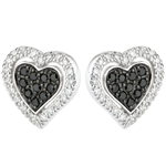 Cercei inimă Mega - aur alb de 9k