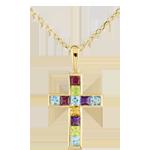 Ciondolo Croce colorata - Oro giallo - 9 carati - Ametista - Peridoto - Quarzo citrino - Topazio - Rodolite - 1.17 carati