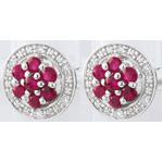 Pendientes Isalia - oro blanco 9 quilates y rubíes