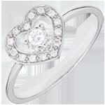 Anello Cuore Tiphanie - Oro bianco - 9 carati - 15 Diamanti - 0.10 carati