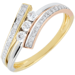 Trilogy Ring Precious Nest - Odinia - Tri-colour Gold - 18 carats