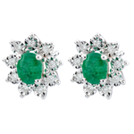 Eternal Edelweiss Earrings - Daisy Illusion - Emeralds and Diamonds - 18 carat White Gold
