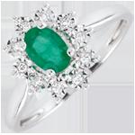 Ring Eternel Edelweiss - Smaragd und Diamanten - 18 Karat Weißgold