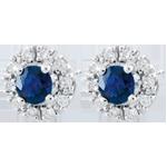 Orecchini Clévia - Oro bianco - 18 carati - 20 Diamanti - 2 zaffiri
