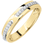 Geschenk Trauring Versprechen - Gelbgold und Diamanten - Großes Modell - 18 Karat