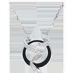 cadeau femme Collier Clair Obscur - Ruban d'�toiles - laque noire et Diamants - 9 carats