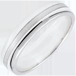 Obrączka Star - Mały model - złoto białe szczotkowane 9-karatowe