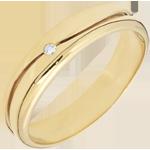 Anillo Amor - Alianza hombre de oro amarillo-diamante 0.22 quilates� 18 quilates