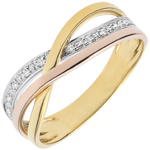 Ring Saturn Diamant - Dreierlei Gold - 10 Diamanten - 9 Karat