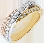 Anillo Saturno diamante - 3 oros - 29 diamantes - 18 quilates