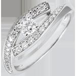 Anello Solitario Destino - Diva - oro bianco - modello piccolo - 0.08 carati - 18 carati