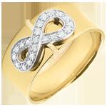 cadeaux femmes Bague Infini - or jaune et diamants - 9 carats