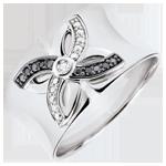 cadeau femmes Bague Fraicheur - Lys d'�t� - or blanc et diamants noirs - 18 carats