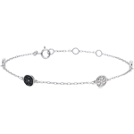 9 karaat witgouden armband Myriade - witte Diamanten en zwarte Diamanten