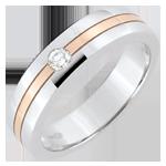 خاتم زواج ستار والألماس ـ موديل صغير ـ الذهب الأبيض والذهب الوردي 9 قيراط