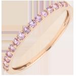 خاتم طائر الفردوس صف واحد من الذهب الوردي 9 قيراط و الياقوت الوردي