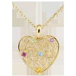 قلادة القلب المزركش ـ الذهب الأصفر 9 قيراط
