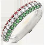 خاتم العلم الإيطالي من الذهب الأبيض 9 قيراط الألماس والأحجار الكريمة