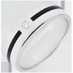 Alianza Claroscuro - Trazo y diamante - Grand modelo - oro blanco 9 quilates y laca negra