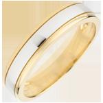 Alianza Horizonte bicolor - oro blanco y oro amarillo 9 quilates