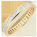 Alianza oro amarillo pavimentada - engaste de carril - 1.02 quilates - diamantes princesa - Vuelta completa