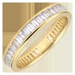 Alianza oro amarillo pavimentada - engaste de carril - 1.28 quilates - diamantes baguettes - Vuelta completa