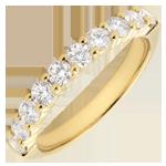 Alianza oro amarillo semi empedrado - engaste garras - 0.65 quilates - 10 diamantes