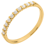 Alianza oro amarillo semi empedrado - engaste garras y pasador - 10 diamantes