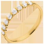 Alianza oro amarillo semi empedrado - engaste pasador - 0.3 quilates - 8 diamantes