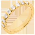 Alianza oro amarillo semi empedrado - engaste pasador - 0.5 quilates - 8 diamantes