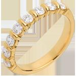 Alianza oro amarillo semi empedrado - engaste pasador - 0.75 quilates - 8 diamantes