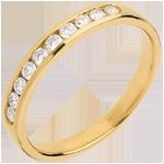 Alianza oro amarillo semi empedrado - engaste raíl - 0.25 quilates - 10 diamantes