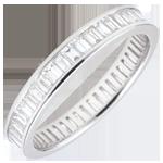 Alianza oro blanco pavimentada - engaste de carril - 1.22 quilates - diamantes baguettes - Vuelta completa