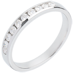Alianza oro blanco semi empedrado - engaste raíl - 0.3 quilates - 10 diamantes