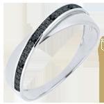 Alianza Saturno Dúo - diamantes - diamantes negros - 18 quilates