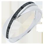 Alianza Saturno Dúo - diamantes negros - oro blanco 9 quilates