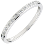 femme Alliance Eclats de diamant - or blanc 9 carats et diamants - demi-tour