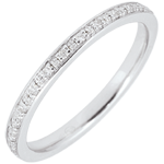 Alliance Eclats de diamant - tour complet - or blanc 9 carats et diamants