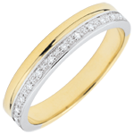 femme Alliance Elégance diamants - or blanc et or jaune 9 carats
