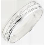 bijou or Alliance Fraicheur - Rameaux gravés variation or blanc - 9 carats