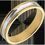 Alliance gravure végétale - Petit Modèle - or blanc et or jaune 18 carats