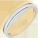 cadeau femme Alliance Olympia - Petit modèle - bicolore - or blanc et or jaune 9 carats