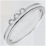 bijou Alliance Olympia Trilogie - Petit modèle - or blanc 9 carats