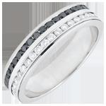 cadeau femmes Alliance or blanc 18 carats diamants blancs et noirs semi pavée - serti rail 2 rangs - 0.32 carats - 32 diamants