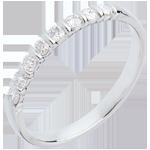 Alliance or blanc 18 carats semi pavée - serti barettes - 0.25 carats - 8 diamants