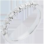 Alliance or blanc 18 carats semi pavée - serti barrettes - 0.5 carats - 8 diamants